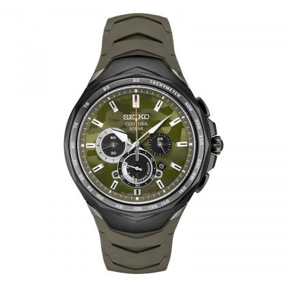 Seiko Coutura Men's Solar Chronograph Green Silicone Strap Watch