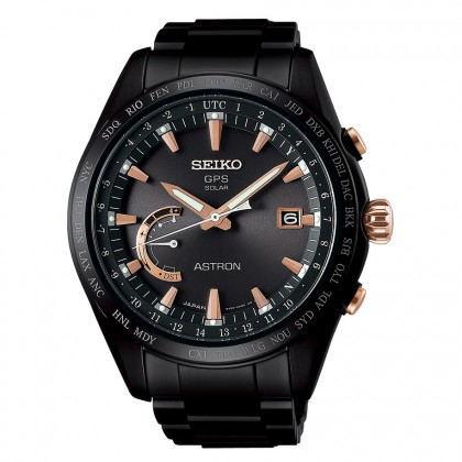 Seiko Astron 8x Titanium Watch All Black Rose Accents