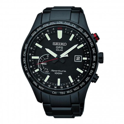 Seiko Sportura GPS Solar Black PVD Stainless Steel Mens Watch SSF005