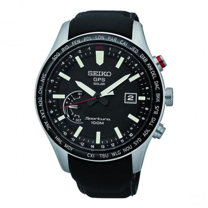 Seiko Sportura GPS Solar Black Leather Band Mens Watch SSF007