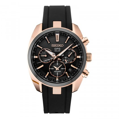 Seiko Astron GPS Solar Rose Gold Rubber Strap Stainless Steel Watch SSH024