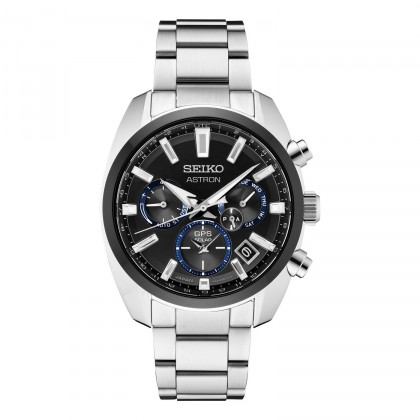 Seiko Astron GPS Solar Black Bezel & Dial Stainless Steel Watch