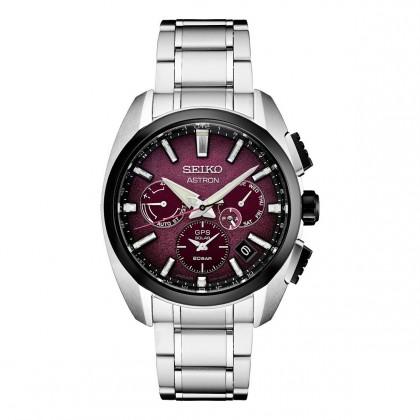 Seiko Astron Limited Edition Dual Time Neon Purple Dial Titanium Watch