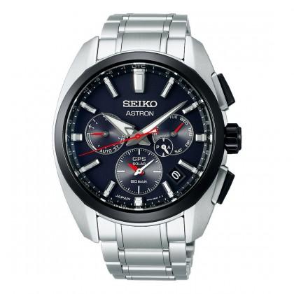 Seiko Astron GPS Solar Dual Time Black Dial Titanium Watch