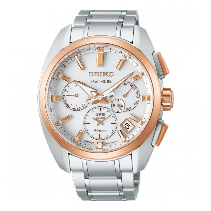 Seiko Astron GPS Solar Dual Time White Dial Titanium Watch