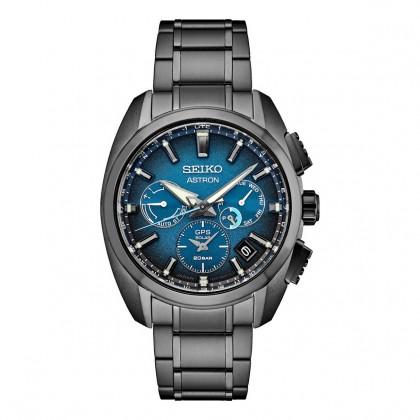 Seiko Astron Limited Edition Dual Time Blue Dial Black Titanium Watch