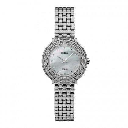 Seiko Tressia Diamond Solar Stainless Steel Watch SUP373