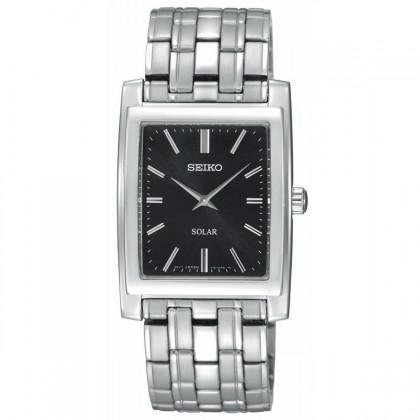 Seiko Solar Stainless Steel Black Dial Men's Watch
