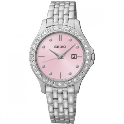 Seiko Pink Mother Pearl Dial Swarovski Crystal