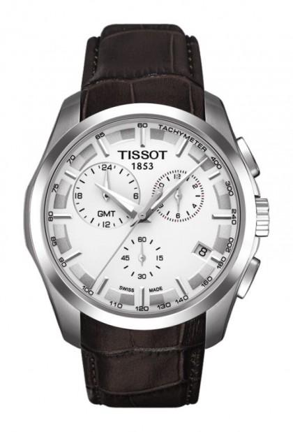 Tissot Couturier Men's Quartz GMT Chronograph Silver Dial Watch with Brown Leather Strap T0354391603100