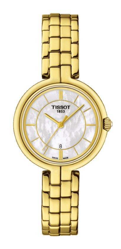 Tissot Flamingo Women's Quartz MOP White Dial with Golden Stainless Steel Bracelet