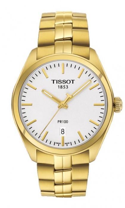 Tissot PR 100 Men's Quartz Silver Dial with Yellow Gold PVD Stainless Steel Bracelet