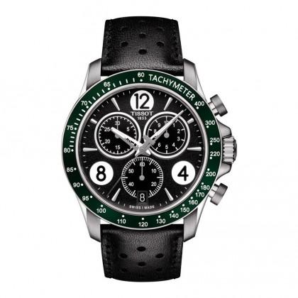 Tissot V8 Men's Quartz Black Dial Watch with Green Bezel