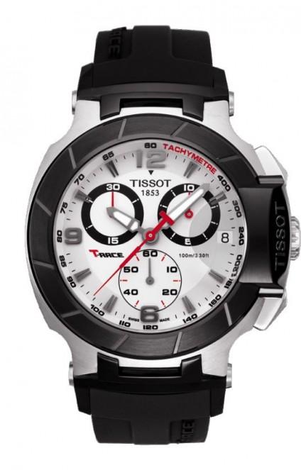 Tissot T-Race Men's Quartz Chronograph Silver Dial Watch with Black Rubber Strap
