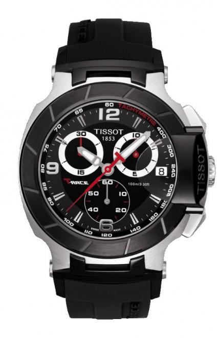 Tissot T-Race Men's Quartz Chronograph Black and White Dial Watch with Black Rubber Strap