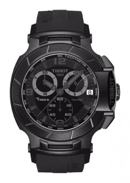 Tissot T-Race Men's Quartz Chronograph Black Dial Watch with Black Rubber Strap