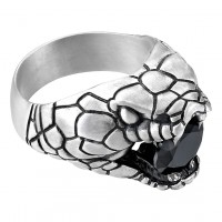 Zancan Ring Silver Black Spinel Size 12 EXA190