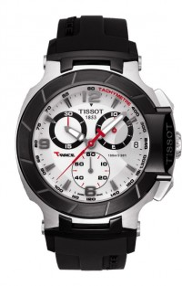 Tissot T-Race Men's Quartz Chronograph Silver Dial Watch with Black Rubber Strap T0484172703700