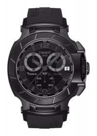 Tissot T-Race Men's Quartz Chronograph Black Dial Watch with Black Rubber Strap T0484173705700