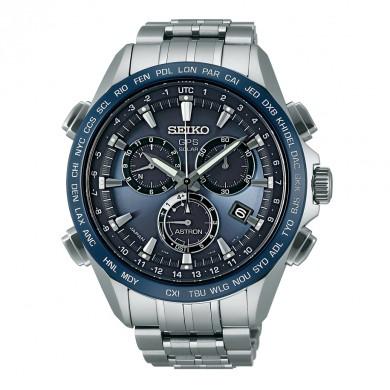Seiko Astron 8x GPS Solar Titanium Blue & Silver Men's Watch