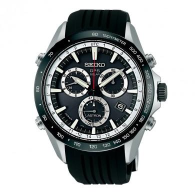 Seiko Astron 8x GPS Solar Silicone Band Black & White Men's Watch