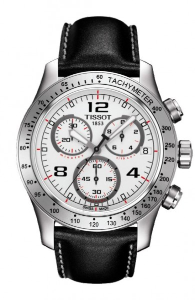 Tissot V8 Men's Quartz Silver Dial Watch with Black Leather Strap