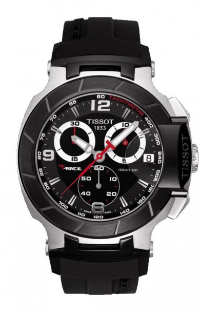 Tissot T-Race Men's Quartz Chronograph Black and White Dial Watch with Black Rubber Strap