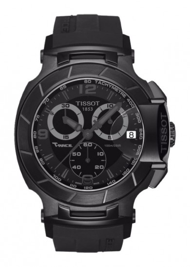 Tissot T-Race Men's Quartz Chronograph Black Dial Watch with Black Rubber Strap